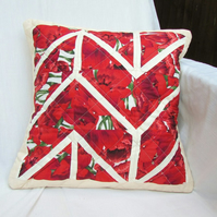Quilted cushion cover in red floral fabric