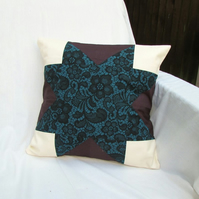 Teal and purple patchwork cushion cover