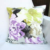 Floral cushion cover - 16 inch square - 100% cotton