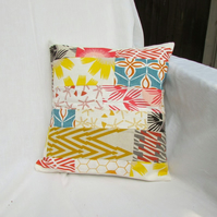 Small Orange and brown patchwork cushion cover