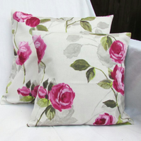 Pink rose cushion cover - 12 inch square