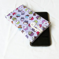 Iphone X, 11 or 11pro phone sleeve in lilac cupcake fabric