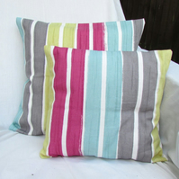 Modern striped cushion cover in bright colours