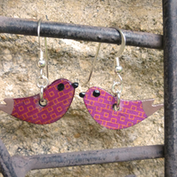 Bird earrings in wine colour pattern handmade with sterling silver hooks
