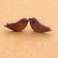 Bird stud earrings in wood and sterling silver by Amanda Cope MarMoo