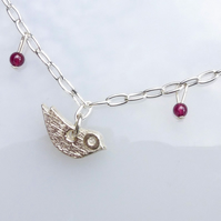 Bird and heart charm necklace in sterling silver handmade