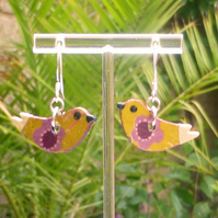 Bird earrings by Amanda Cope handmade wood and sterling silver