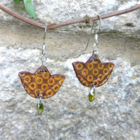 Beautiful hand decorated tulip flower earrings by Amanda Cope wood and sterling