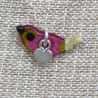 Tiny Dove Bird necklace handmade with wood and sterling silver by Amanda Cope