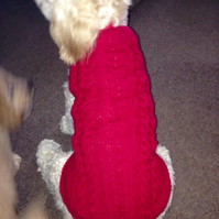 Hand knitted Aran style Dog jumper