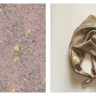 Blind Floral Small Digitally Printed Silk Square Neckerchief Scarf