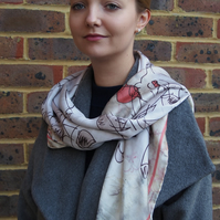 Mari Lwyd and The Foxes Digitally Printed Large Silk Scarf, Wrap or Shawl