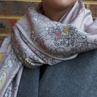 Blind Floral Large Silk Square Scarf, Digitally Printed Shawl Wrap