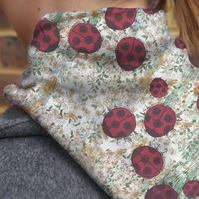 Ladybird in the Garden Silk Neckerchief, small scarf with floral pattern