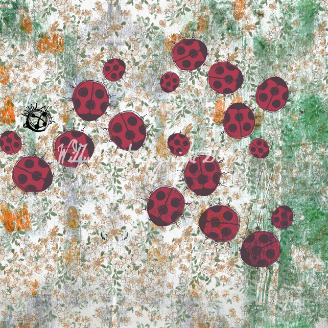 Large Ladybird in the Garden Silk Scarf