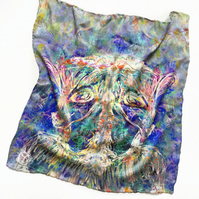 Blue Green Fawn Print Silk Scarf Neckerchief