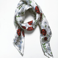 Ladybird Silk Scarf with Blue Floral Print, large shawl