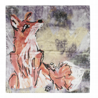 Large Fox Print Silk Scarf
