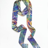 Festival print abstract silk scarf with blue green design