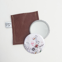 Wanderlust small compact pocket mirror in leather pouch