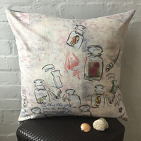 Wanderlust Vintage Inspired Velvet Cushion with shell, postcard &a perfume print