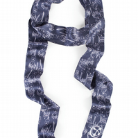 Indigo silk skinny scarf with doll and key print