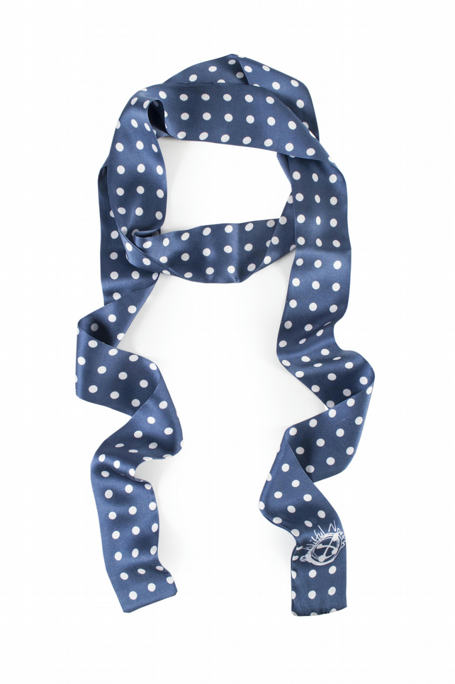 Blue and white polka silk skinny scarf