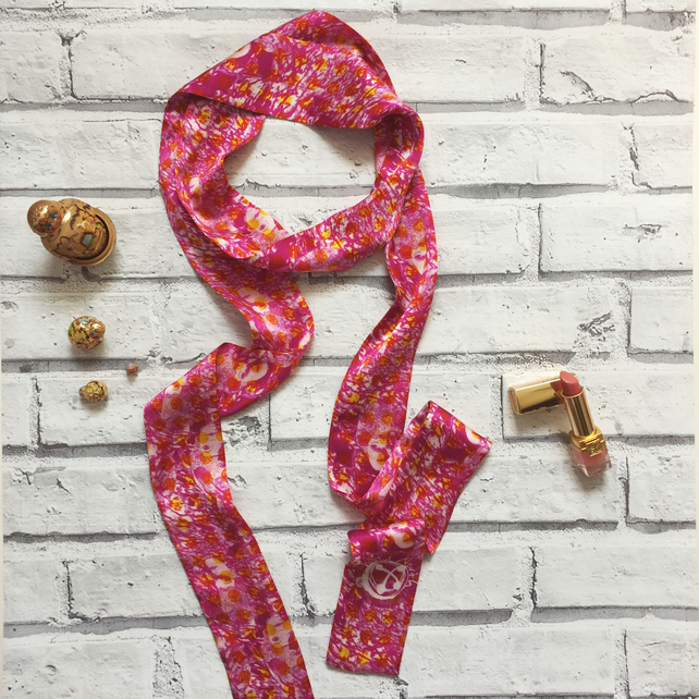Bright pink Russian doll silk skinny scarf
