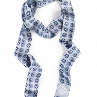 Abstract Bell Printed Silk Skinny Scarf