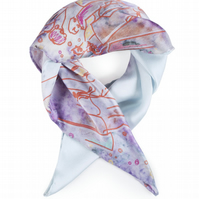 Handmade Luxury Silk Neckerchief Scarf with Morris Dancer Bright Pattern
