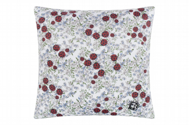 Ladybird Velvet Cushion with blue forget-me-not floral Cover Only
