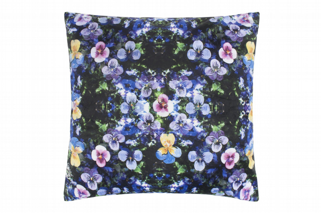 Large Pansy Velvet Cushion
