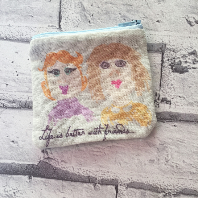 Friendship English Linen Coin Purse