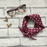 Polka Dot Silk Hair Tie or knotted choker scarf