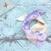 Luxury Silk Neckerchief Scarf with Charlotte Doll and Key Design
