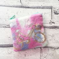 Hand Drawn bicycle print English Linen coin purse