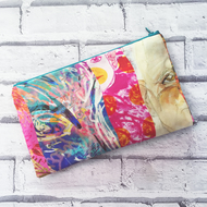 Striped colourful floral clutch bag 100% silk evening bag