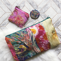 Gift Set colourful silk clutch bag, purse and pocket mirror