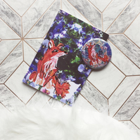 Fox notebook with matching pocket mirror gift set