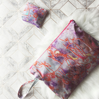 Colourful silk clutch bag and matching purse