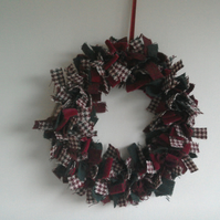 Harris Tweed wreath red and green for Christmas