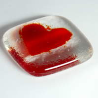Red love heart token, glass love token