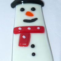 Fused glass Xmas snowman Christmas decoration