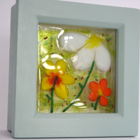 Fused glass flower art, hanging glass art