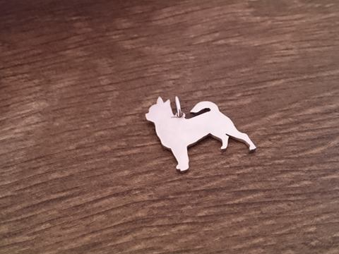 Chihuahua smooth dog silhouette pendant sterling silver handmade