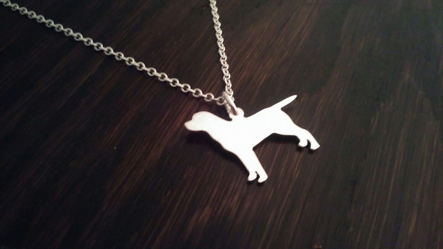 "Labrador fullbody dog silhouette pendant sterling silver handmade with 18"" chain"