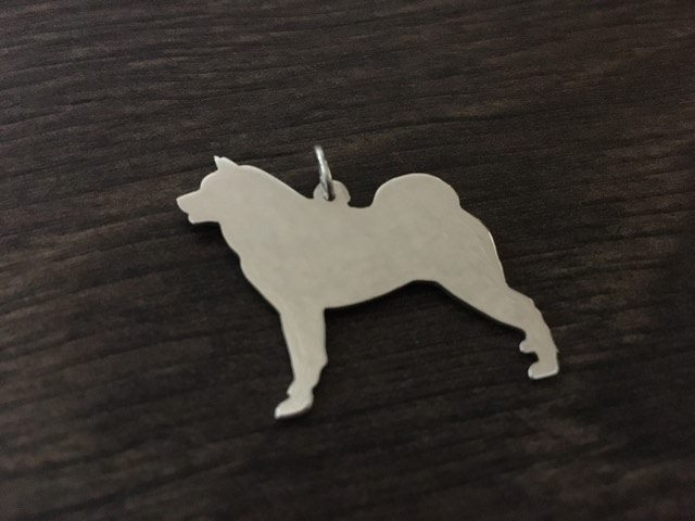 "American akita dog silhouette pendant sterling silver handmade with 18"" chain"