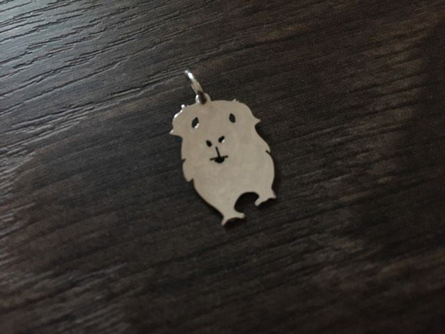 "Guinea Pig Cavie silhouette pendant sterling silver handmade with 18"" chain"