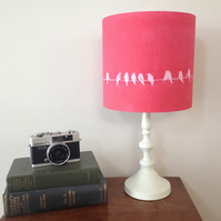 Red Bird drum lampshade, cyanotype, sun print, birds on a wire.