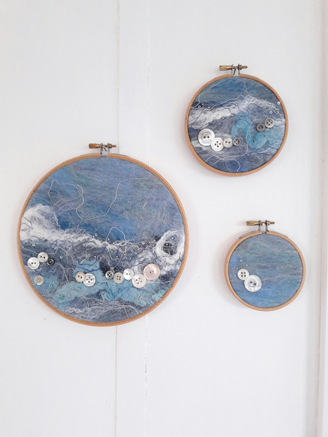 Wet Felted textile seascape hoop art triptych with mother of pearl button detail